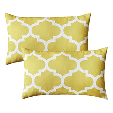 puredown Canvas Decorative Cushion Covers Sofa Chair Seat Throw Pillow Case Quatrefoil Print Square,Yellow,12 x20 ,Set of 2