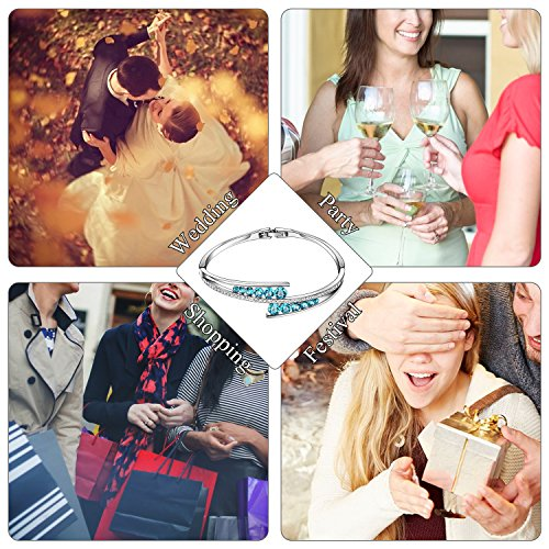 Menton Ezil ''Love Encounter Sapphire Blue Swarovski Bracelets Woman Bangle 7'' Charm Tennis Jewelry by Menton Ezil (Image #6)