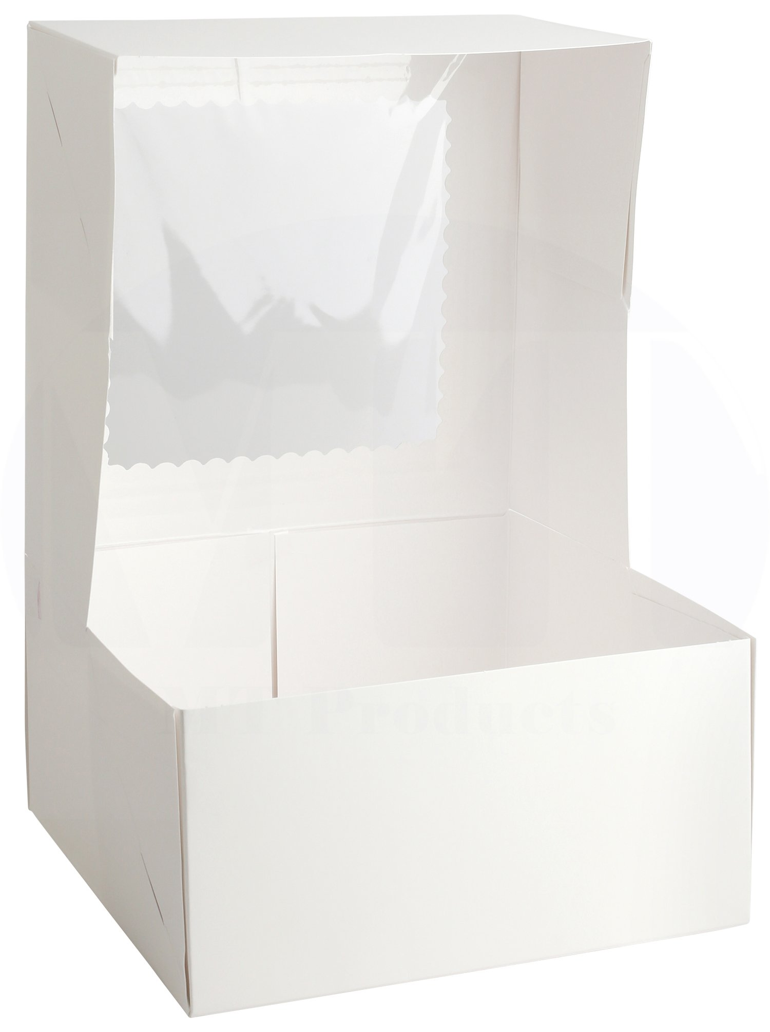 8 in Length x 8 in Width x 5 in Height White Kraft Paperboard Auto-Popup Rounded Design Window Pie/Bakery Box by MT Products (Pack of 15) by MT Products (Image #3)