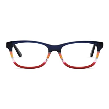 f705ed13de71 OCCI CHIARI Women Rectangle Striped Non-Prescription Eyeglasses With Clear  Lens (Blue Red
