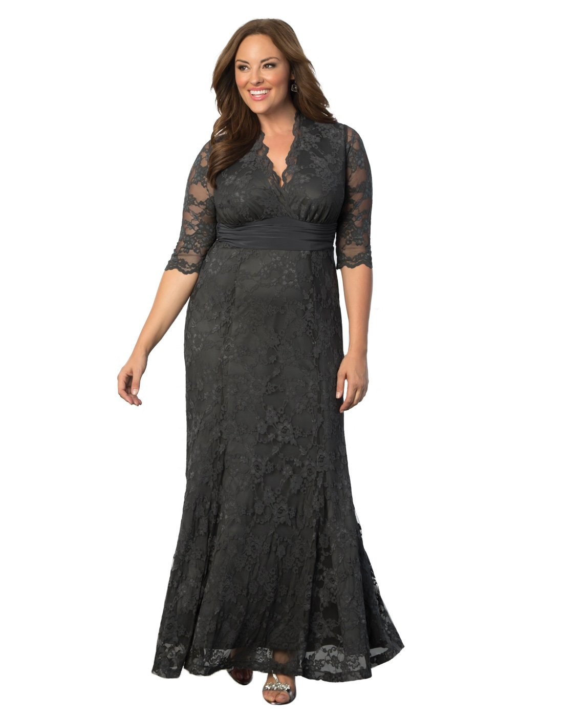 Kiyonna Women's Plus Size Screen Siren Lace Gown 1x Twilight Grey by Kiyonna Clothing