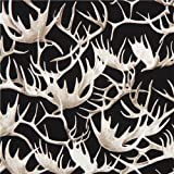 Black fabric with deer antler by Timeless Treasures (per 0.5m unit)