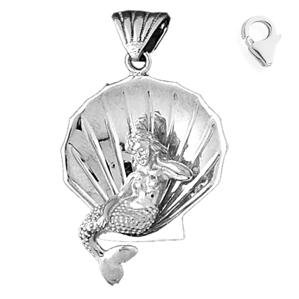 Sterling Silver 41mm 3-D Mermaid And Shell 8.5'' Charm Bracelet