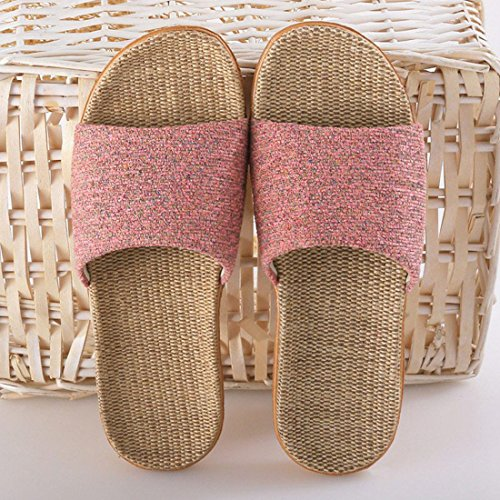 XINGYUE Slippers No Slip Flax Indoor Tatami Slippers Toe Open Pink qYqrwIx