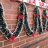 Polytree Christmas Garland with Ball Bowknot Decor Xmas Festive Wreath Stairs Fireplace Ornaments Xmas Party Decoration Type 1