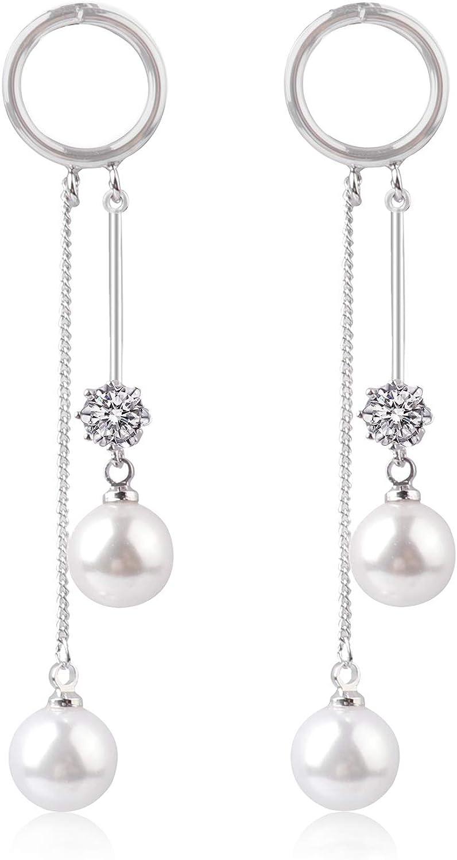 2pcs Women Fashion Elegant Silver Plated Pearl Drop Dangle Ear Stud Earring FO