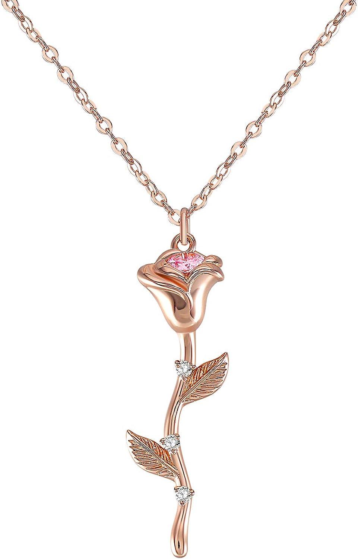 QUINBY Collar con colgante de rosa para mujeres y niñas, chapado en oro rosa/oro rosa, cristales de circonita cúbica 5A