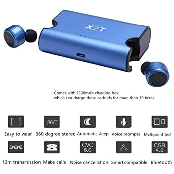 Auriculares Bluetooth, TechCode New Fashion True Auriculares Bluetooth inalámbricos Dual TWS Mini V4.2