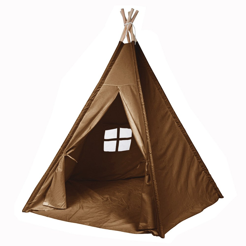 Modern Home Children's Canvas Tepee Set with Travel Case Brown Window
