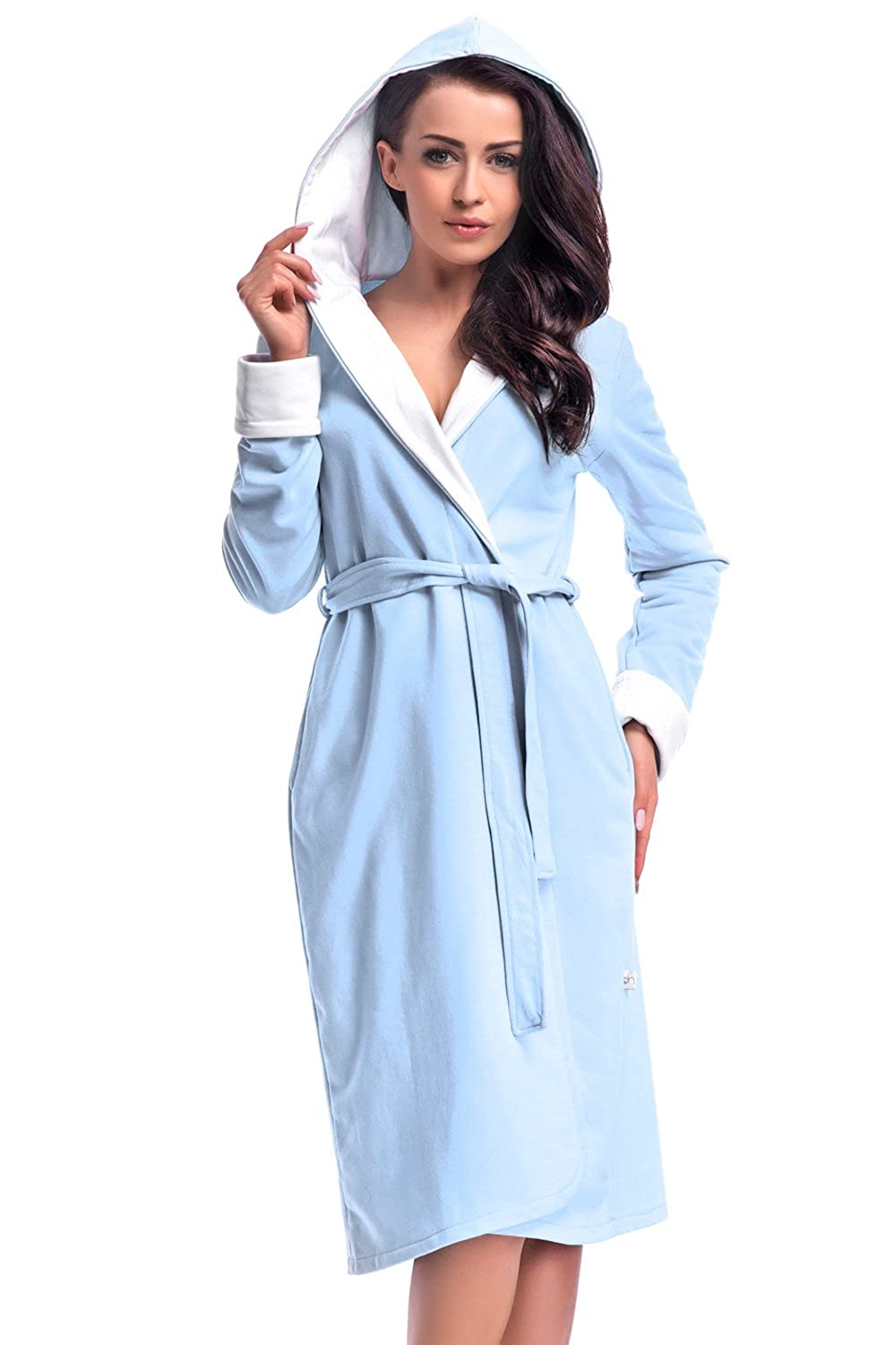 Dobranocka SDP.6067 Classic Belted Dressing Robe With Hood And Long Sleeves - Made In EU