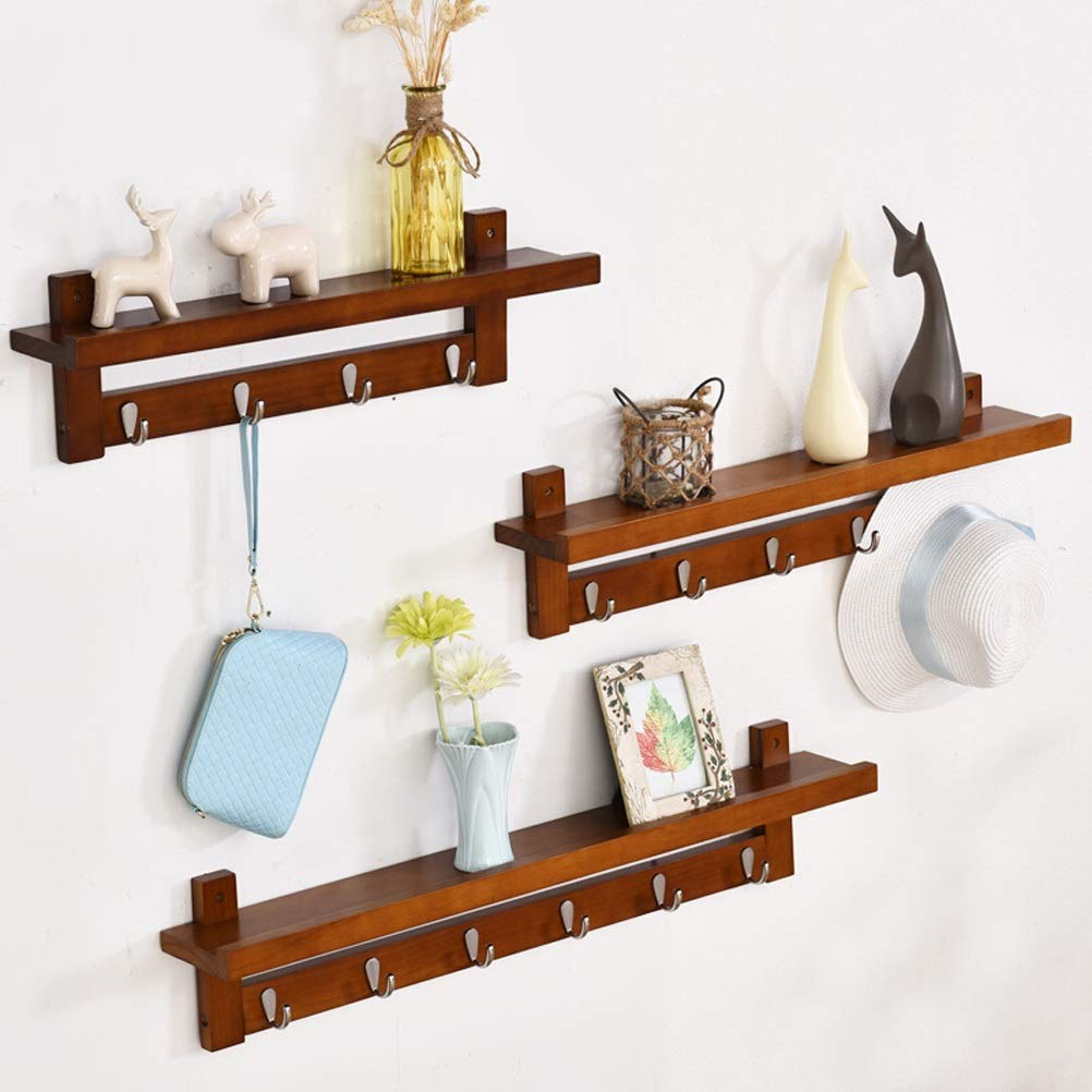 BROWN 4 hooks WAN SAN QIAN- ♦ZWJ Wall-Mounted Coat Rack Multifunctional Solid Wood Decorative Storage Display Shelf with Hooks Shelf0331 (color   Brown, Size   3 Hooks)