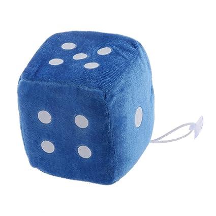 Juguetes Peluches Colgantes Forma de Dados 6 caras Ventana Percha Coche 4 Pulgadas - Azul