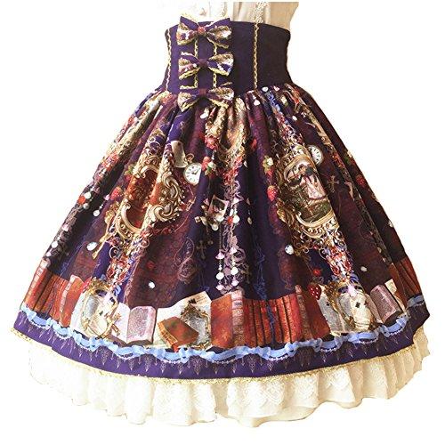 Smiling Angel Lolita Summer Autumn Paradise Garden Original Court Retro Lace Bowknot High Waist Lolita Skirt ()