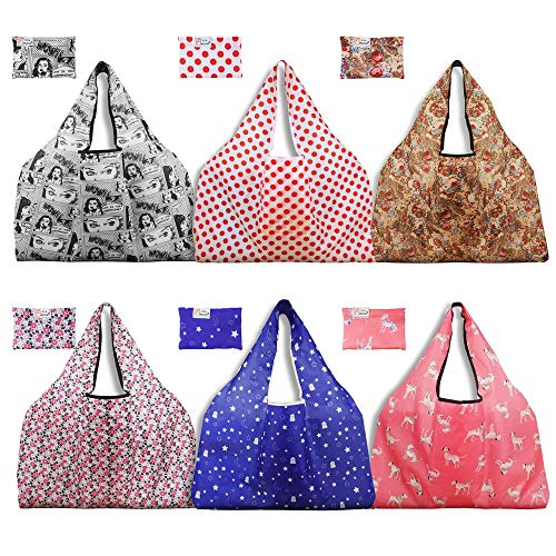 Thicken 300D Nylon Reusable Grocery Bags 6 Pack Holotap Extra Large Folding Shopping Tote Bag Fits in Pocket Reusable Produce Bags Washable, Durable and Lightweight (Multi Color Upgraded)