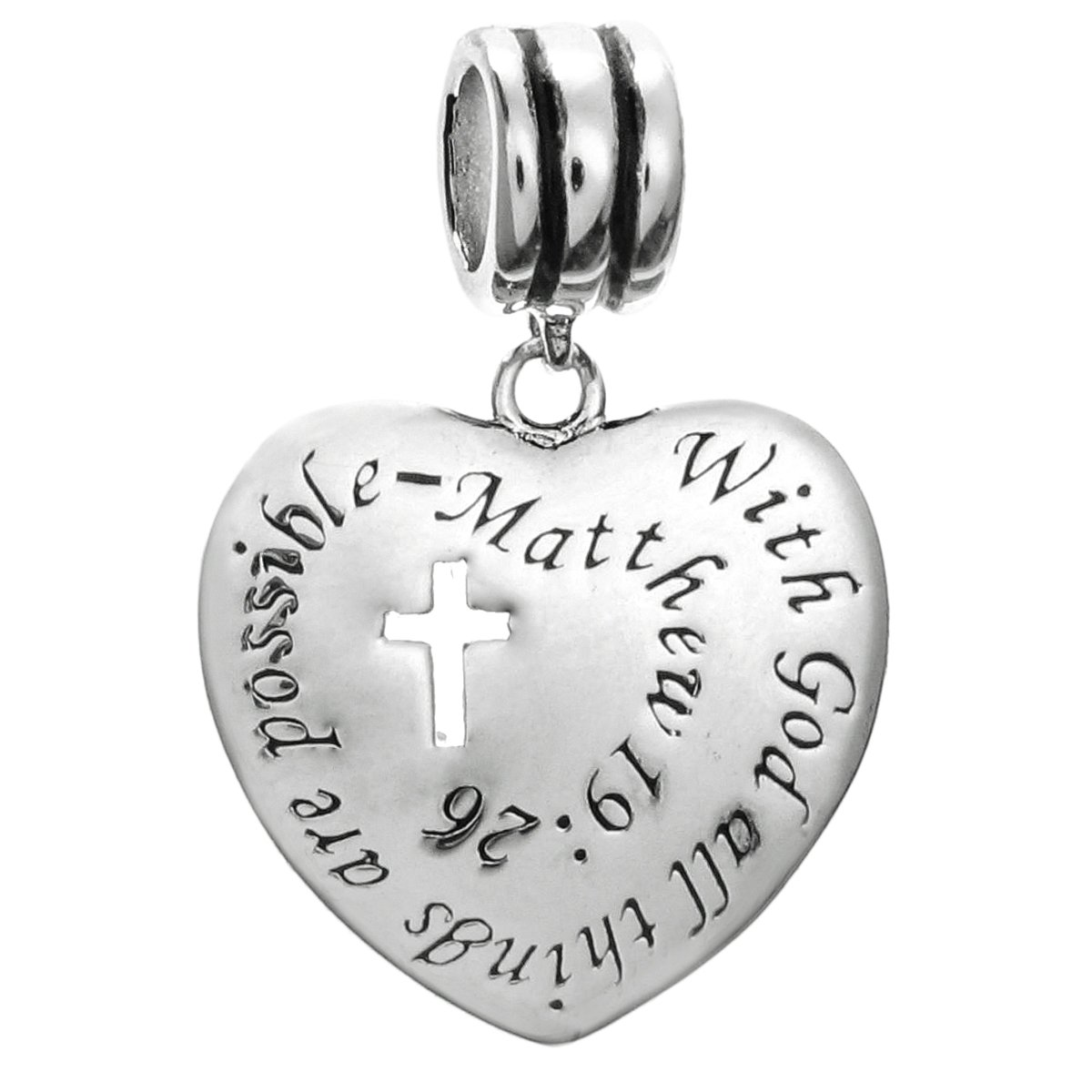 Sterling Silver Christian Cross With God All Things Are Possible European Style Dangle Bead Charm