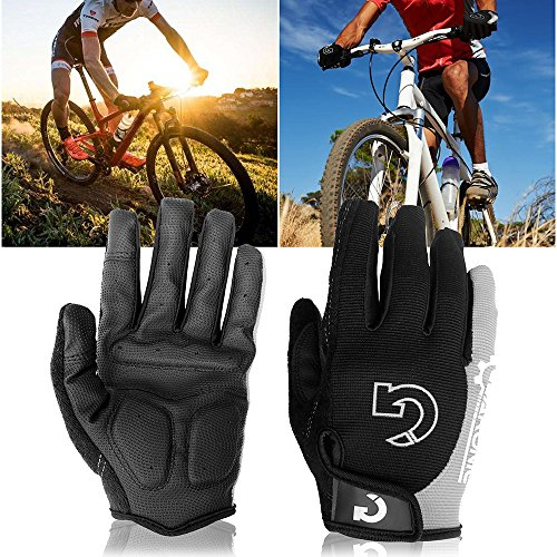 "GEARONIC TM Cycling Bike Bicycle Motorcycle Shockproof Foam Padded Outdoor Sports Half Finger Short Riding Biking Glove Working Gloves (Gray Full Finger, Full M (7""-7.5""))"
