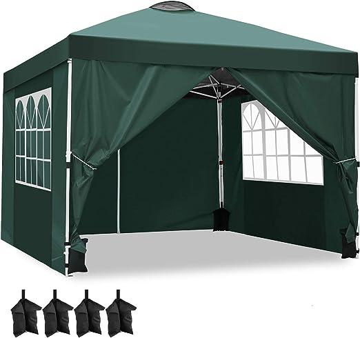 YUEBO Carpas Plegables, 3x3m Pabellon Gazebo Impermeables Protector UV para Jardin Exterior Eventos Coche Ferias con Paredes Laterales, Sacos de Arena Bolsa de Transporte: Amazon.es: Jardín