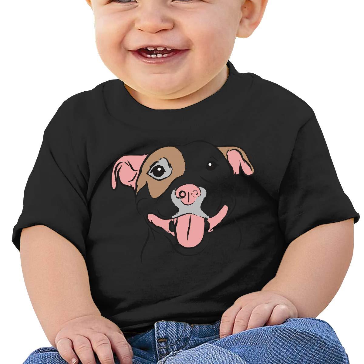 Pit Bull Smile Boy Girl Newborn Short Sleeve T-Shirt 6-24 Month Soft Tops