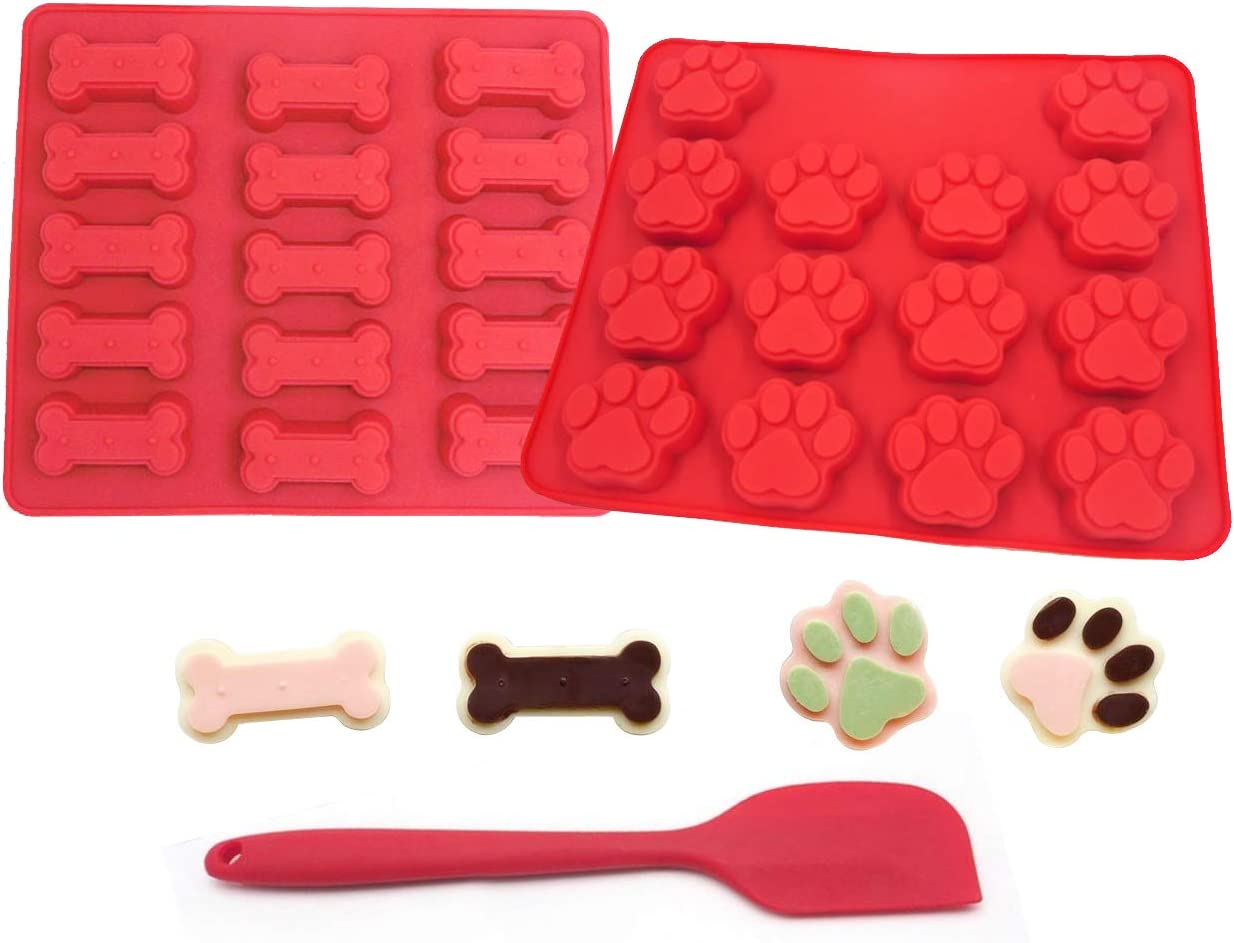 SET OF 3 Dog Treat Cookie Molds & Spatula: Paw & Bone Food Grade Silicone Trays Dog Pet Cookie Molds for making Chocolate Candy Cookie Ice Cubes LARGE SIZE red