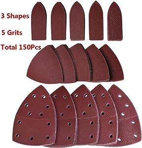 Dobetter 150pcs Sandpaper Assortment Sanding paper 60 80 120 180 240 Grits for Detail, Mouse, Finger Sander and Oscillating Tool Pad -MSP3