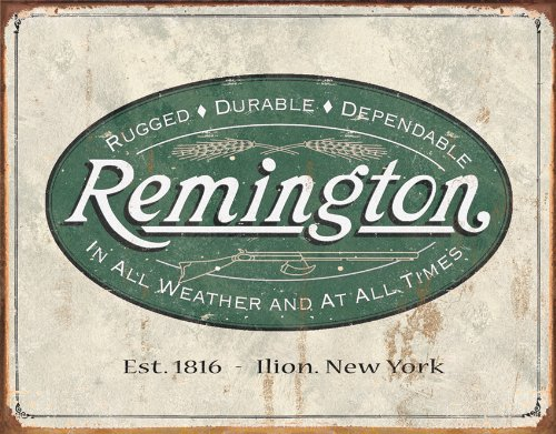 - Poster Discount (13x16) Remington Guns Rifles Hunting In All Weather Logo Distressed Retro Vintage Tin Sign, 16x12