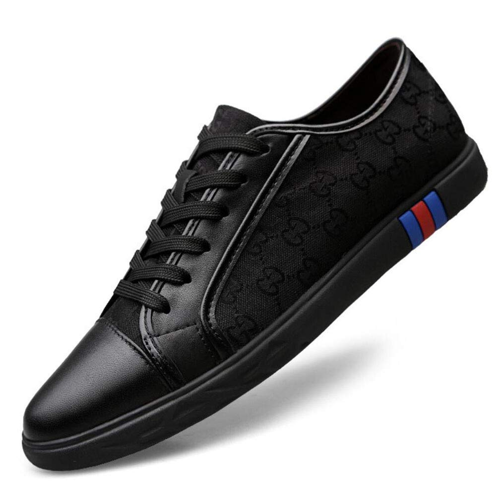 YAN Herren Canvas Schuh Mode Leder Toe Cap Lace up Freizeitschuhe Espadrilles Niedrig-Top Turnschuhe Trainingsschuhe (Farbe : C, Größe : 43)