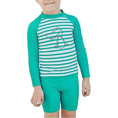 Ababalaya Boys Dinosaur Stripe Rashguard Swimsuit Trunk Set UPF 50+ Sun Protection 2-8T