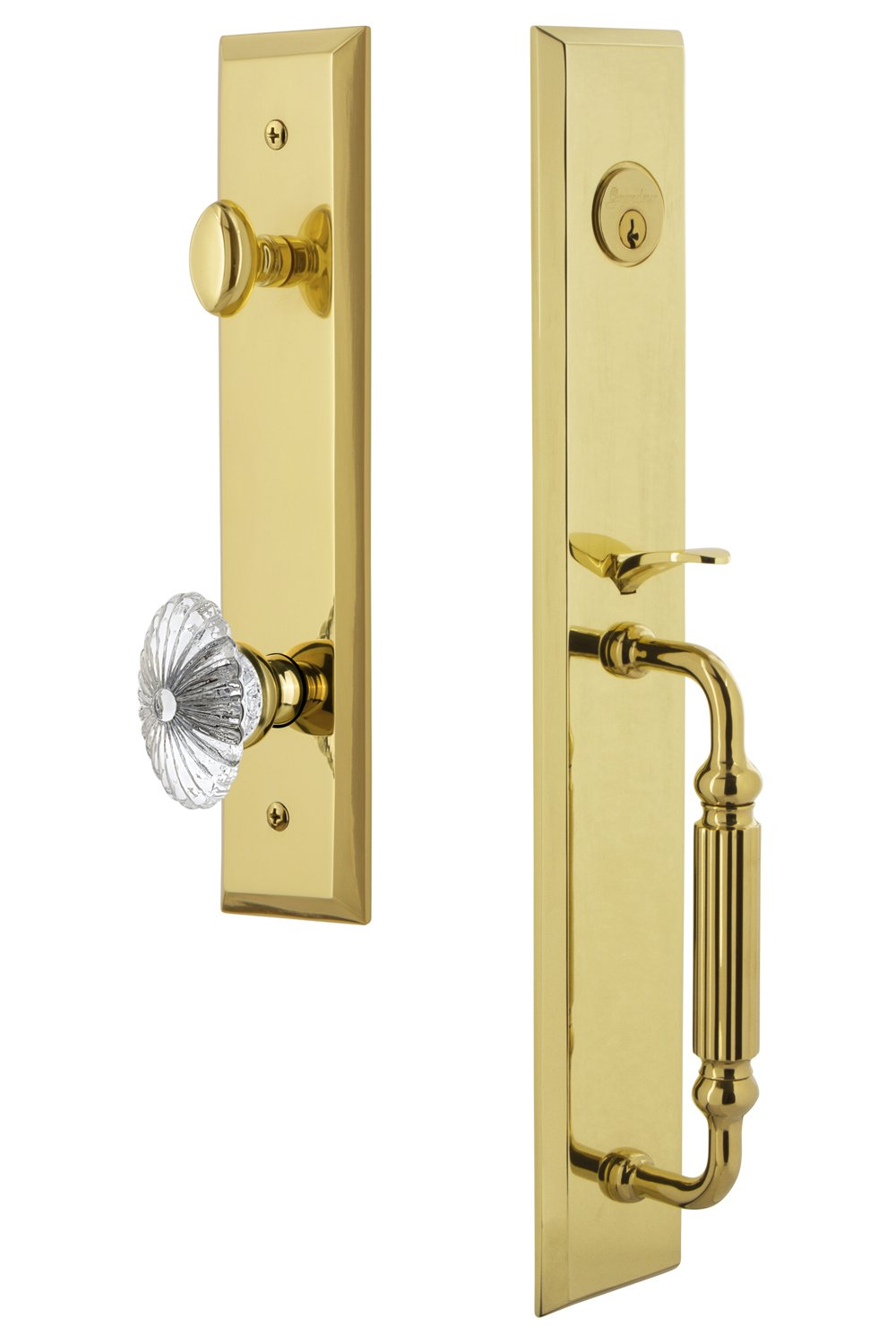 Single Cylinder Lock Backset Size-2.375 Grandeur 845921 Hardware Fifth Avenue One-Piece Handleset with F Grip and Burgundy Knob in Timeless Bronze