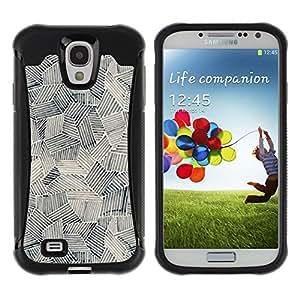 """Hypernova Defender Series TPU protection Cas Case Coque pour Samsung Galaxy S4 IV I9500 [Pintura Arte Formas Negro Blanco""""]"""