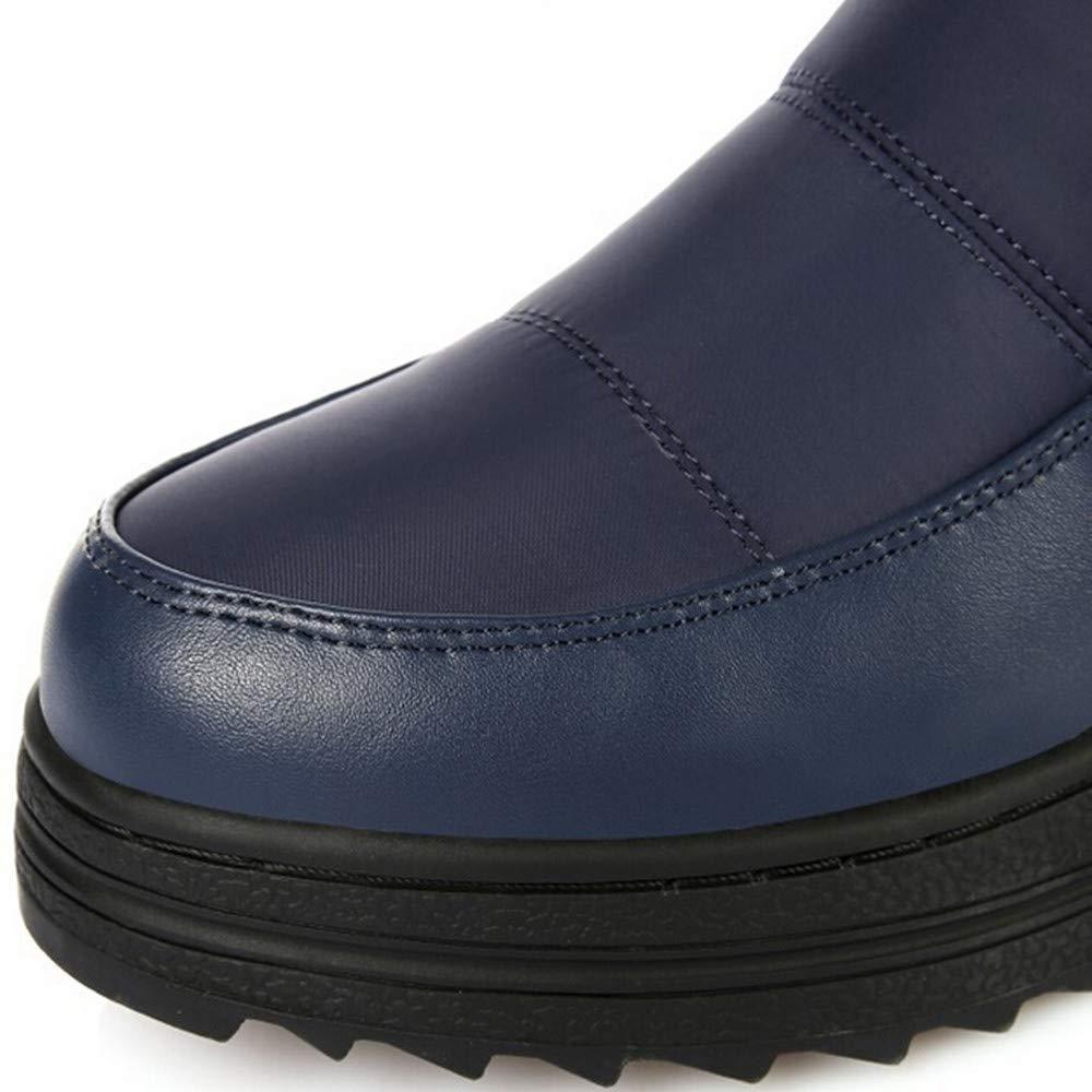 ❤ Botas de Nieve de Tubo Alto para Mujeres, Zapatos Planos sin Cordones para Mujer con Punta Redonda Botas Sobre la Rodilla de Color Liso Botas para la ...
