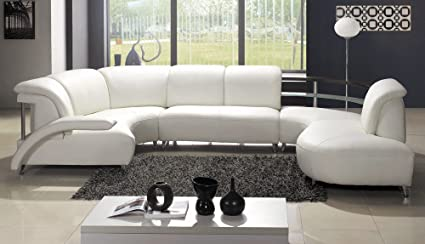 Beau Contemporary Plan Modern White Wrap Around Design Leather Sectional Sofa
