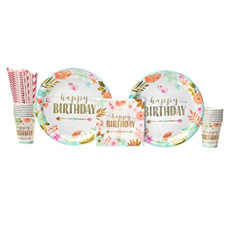 16 BIRTHDAY GIRL BOHO TRIBAL LUNCH NAPKINS WILD ONE PARTY TABLE DECORATION HAPPY