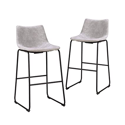 Terrific Lch 29 Inch Vintage Pub Bar Stools Set Of 2 Wear Resistant Fabric Barstools With Durable Frame And Floor Protector Grey Machost Co Dining Chair Design Ideas Machostcouk