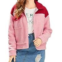 CIELLTE Blousons Manteaux Femme Veste d'hiver Parka Patchwork Court Cachemire Perfecto Fausse Fourrure Zipper Outwear Hooded Cardigan Rembourrée