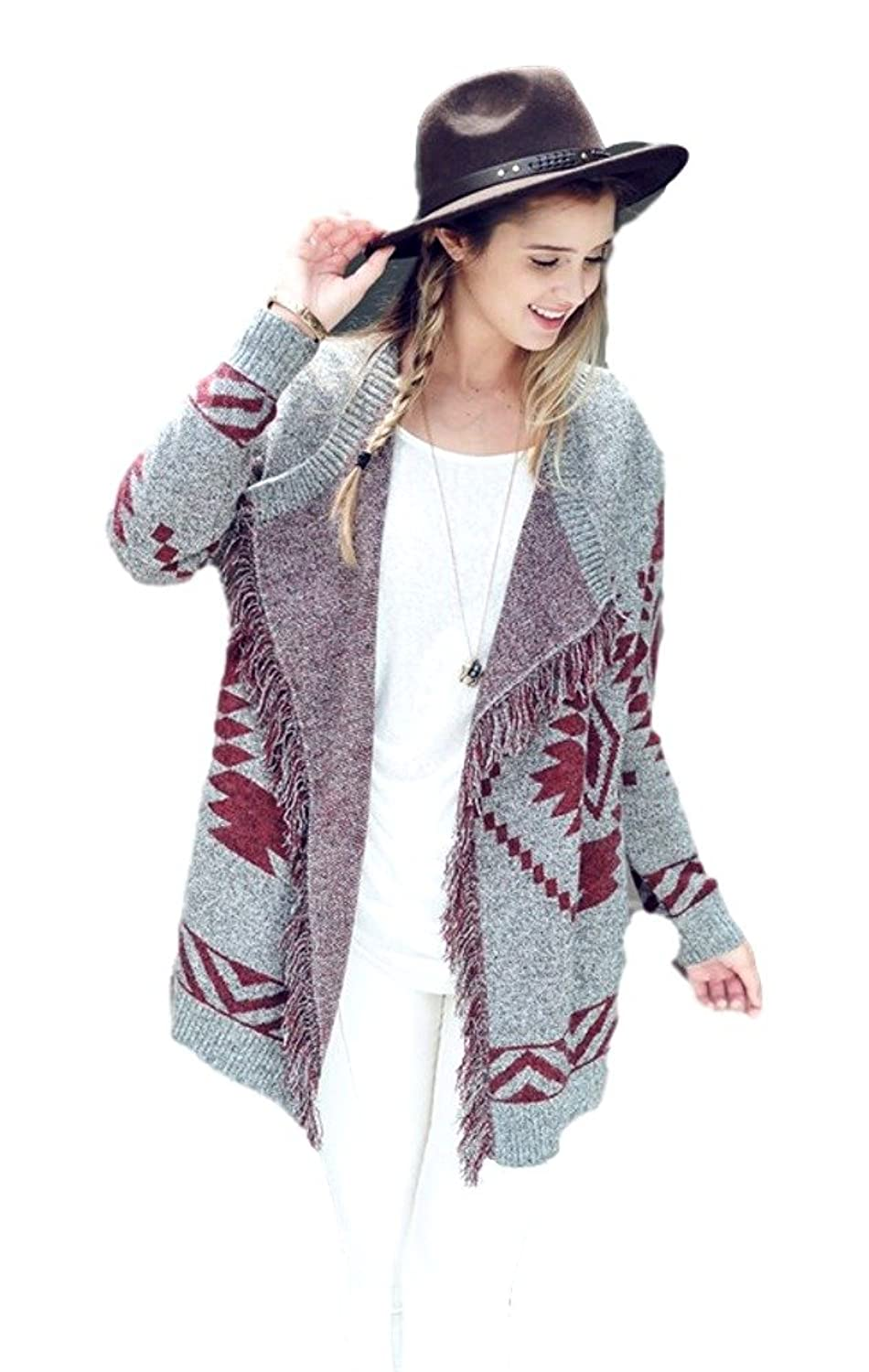 Tribal Knit Cardigan, Grey