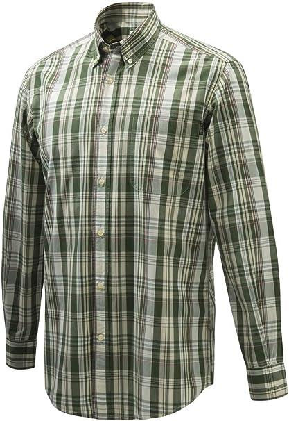Beretta Camisa Wood Button Down XXL Verde/Violeta / Crema ...