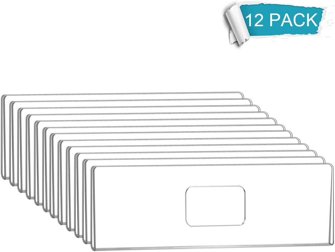 NIUBEE 12 Pack Acrylic Wall Name Plate Holder 2x8 Inch,clear Plastic Sign Holder 2x8 Horizontal With 3M Adhesive Tapes,Door Name Plates Set Small License Plates Frame For Office Home Classroom Teacher