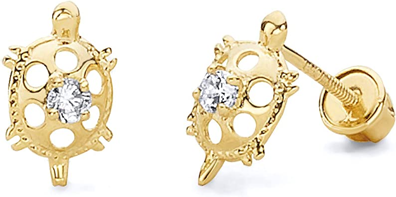 Wellingsale 14K Yellow Gold Polished Star Stud Earrings With Screw Back