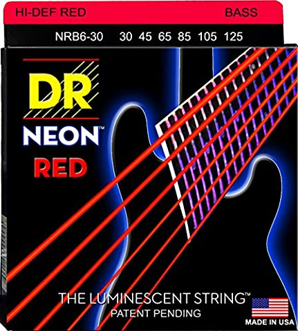 DR Strings Electric Bass Guitar Neon Red Coated 6-String, .030 - .125, NRB6-30 (Dr Bass Guitar Strings For 6)