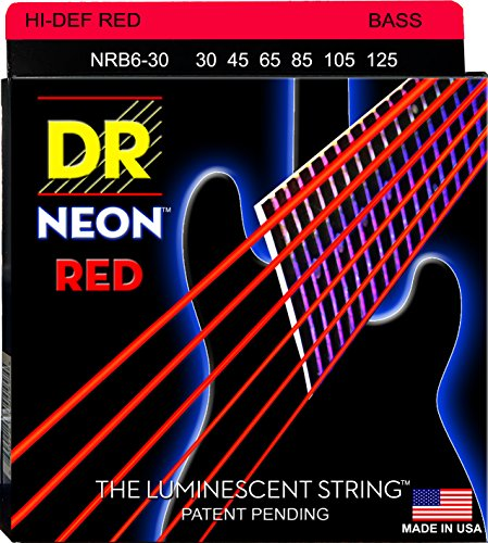 DR Strings Electric Bass Guitar Neon Red Coated 6-String, .030 - .125, NRB6-30 (Red Bass Strings)