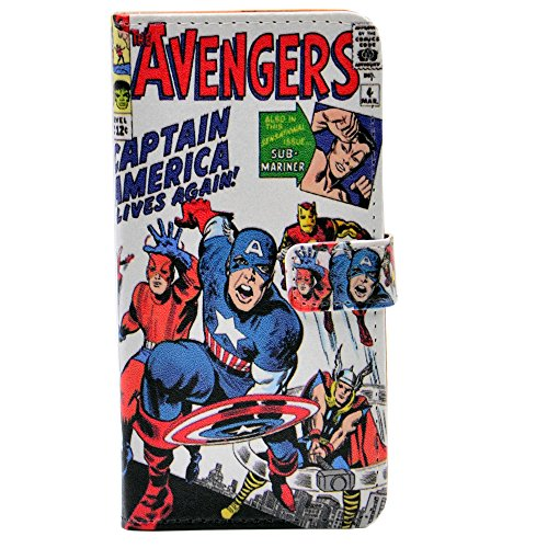 iPhone 5S Case - Unique Cartoon Comic Superhero Alliance Pattern Slim Wallet Card Flip Stand PU Leather Pouch Case Cover for Apple iPhone 5 5S SE Cool as Great -