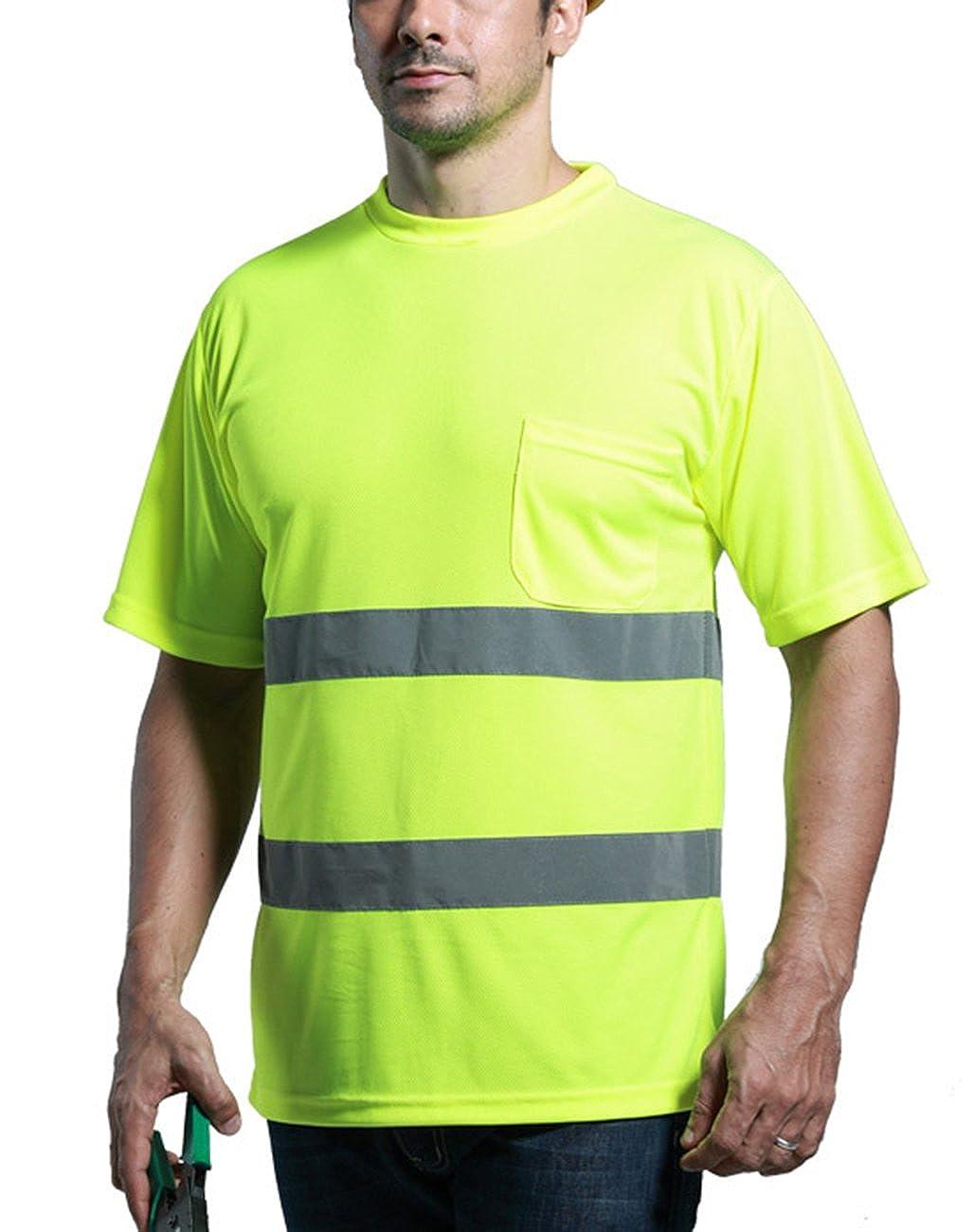 5eee5432e7f6 Herren Atmungsaktiv Warnshirt Warn T Shirt Hemd mit hoher Sichtbarkeit  Sicherheitshirt Größe M Fluoreszenz Gelb  Amazon.de  Bekleidung