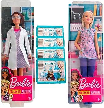 Amazon.es: Barbie Pack 2 You Can Be Anything (Enfermera y Científica) + Sobres de Pegatinas de Frozen: Juguetes y juegos