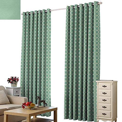 Homrkey Novel Curtains Abstract Retro Geometric Lines Classic Connected Rhombus Mosaic Tiles Illustration Blackout Draperies for Bedroom Window W96 xL108 Almond Green Cream ()