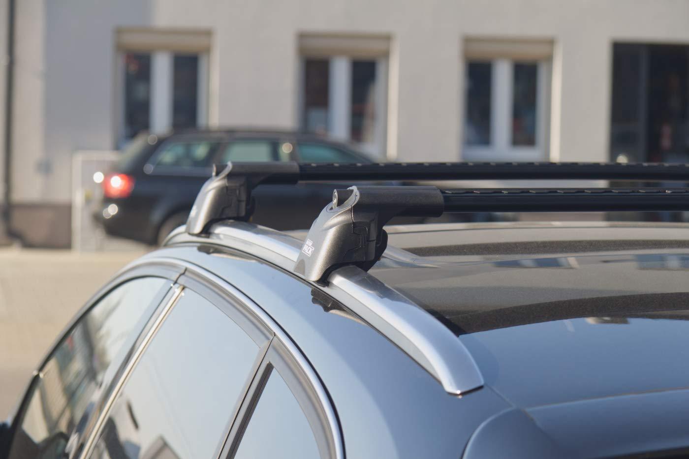 IP Aerodynamische Aluminium Dachtr/äger Modernes Design integrierte Dachrelinge Schwarz
