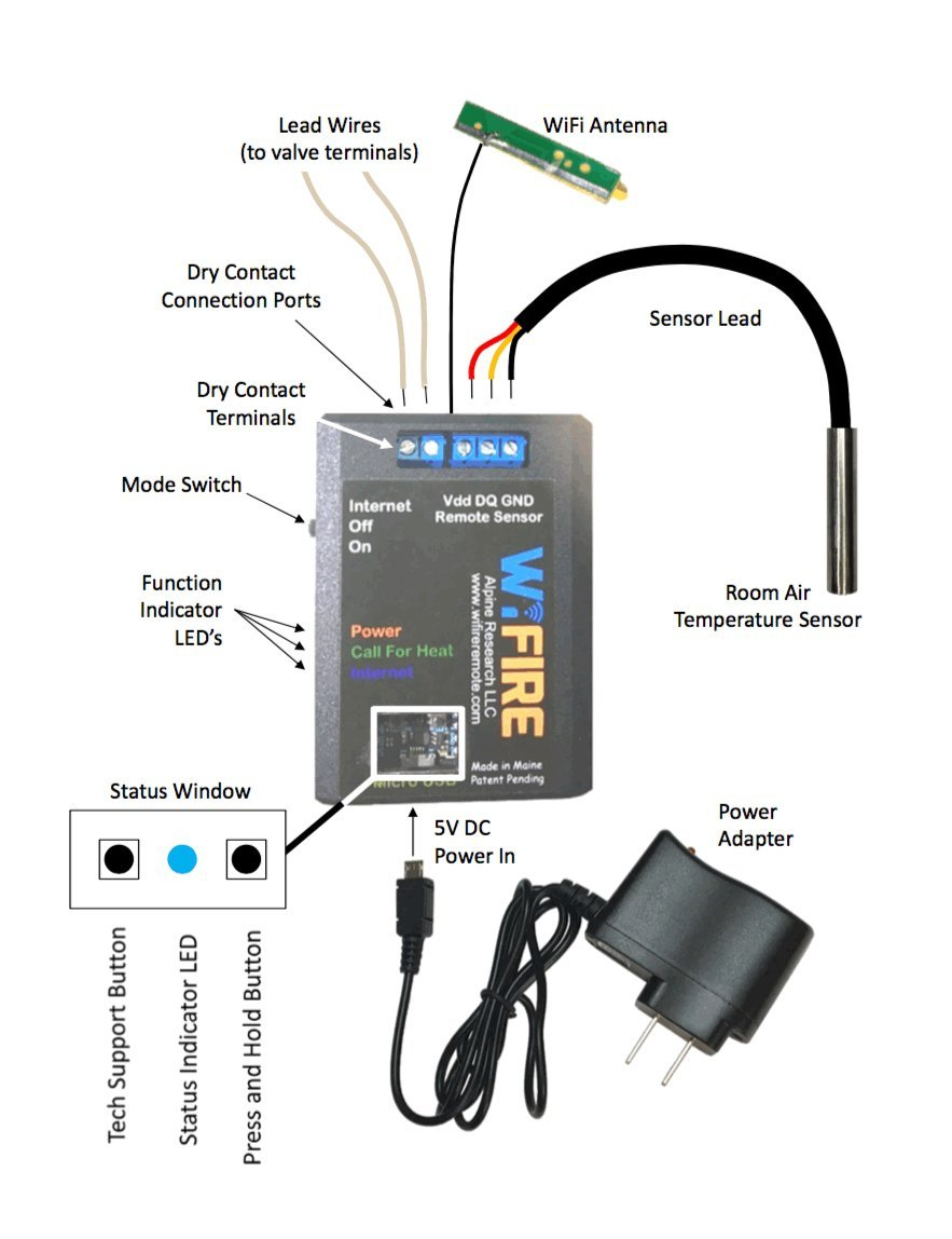 Wifire Remote Wifi Internet Fireplace Gas Electricity Wiring Controller Home Kitchen