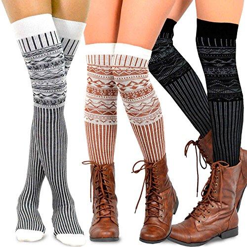 Teehee Women's Fashion Extra Long Cotton Thigh High Socks - 3 Pair Pack (Nordic Pattern)