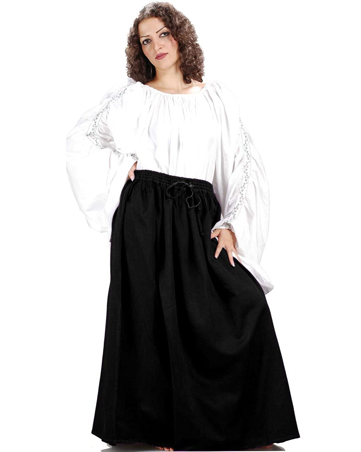 Women's Classic Renaissance Medieval Black Cotton Wench Skirt by ThePirateDressing - DeluxeAdultCostumes.com