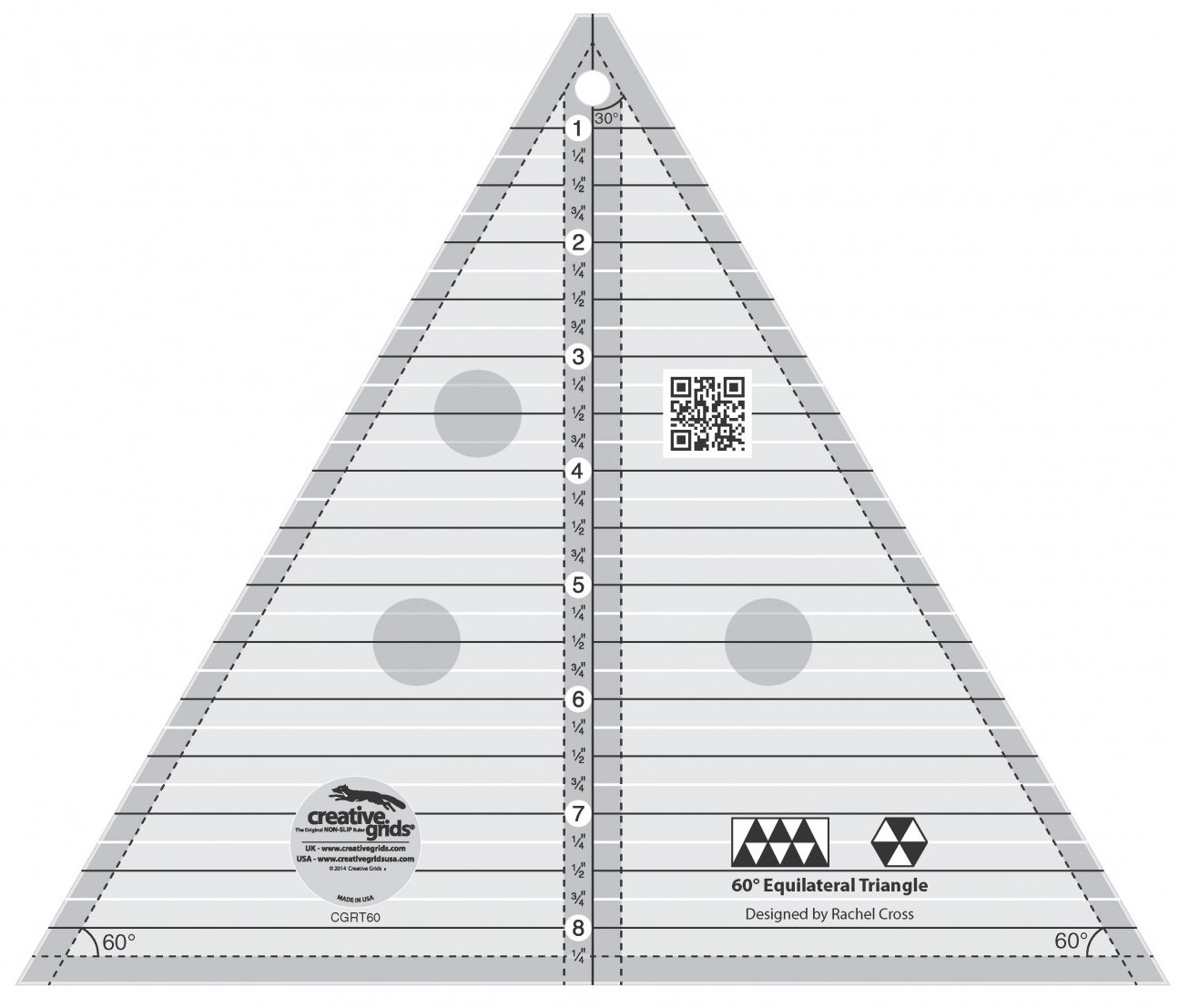 Creative Grids 60 Degree Equilateral Triangle 8'' Quilting Ruler Template cgrT60 by Creative Grids
