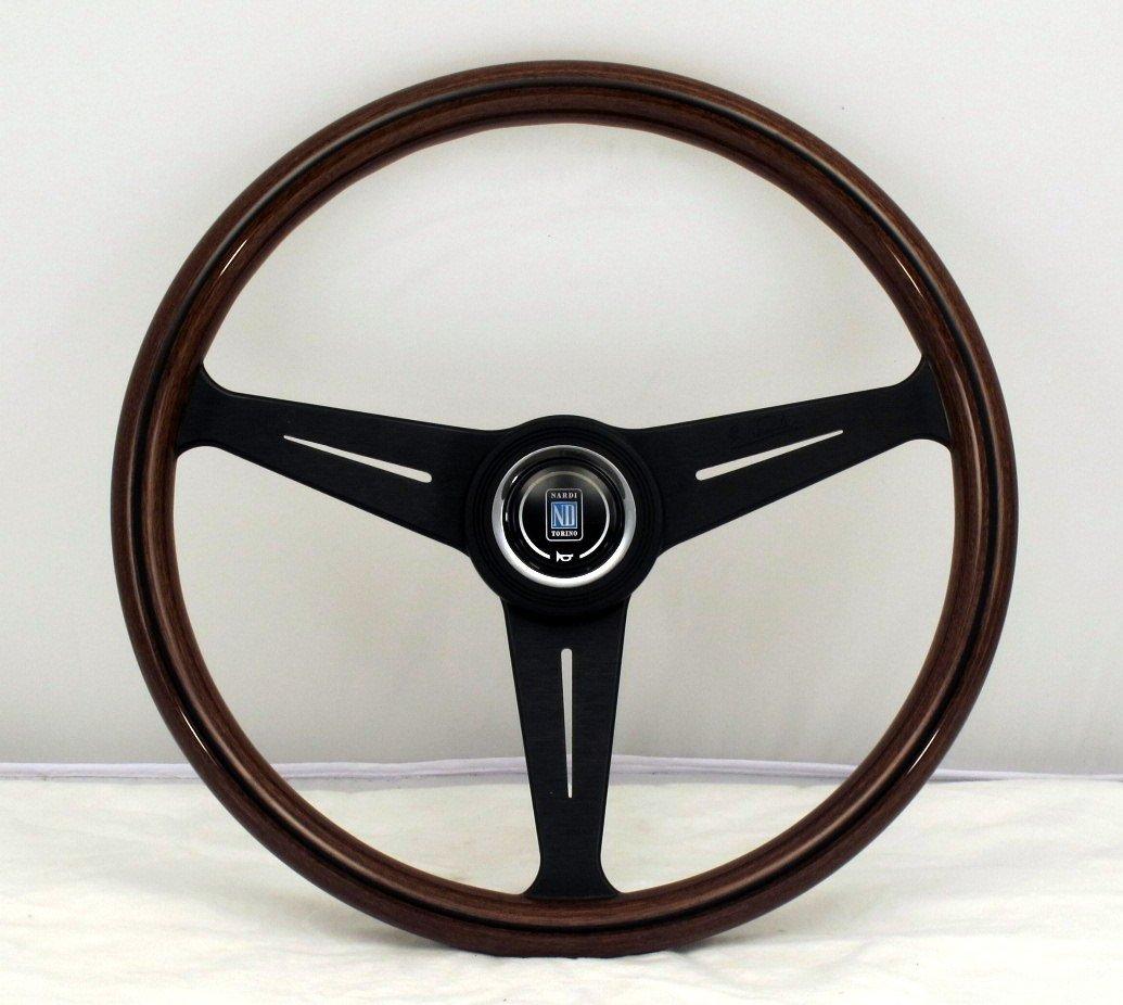Classic 390mm 15.35 inches - Mahogany Wood with Black Anodized Spokes Part # 5051.39.2300 Black Aluminum Center Ring Nardi Steering Wheel KBA//ABE 70065